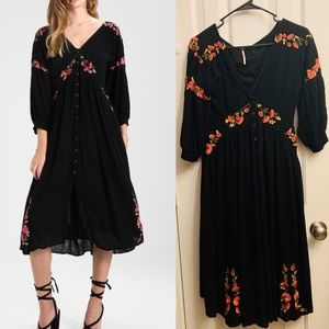 Free People Day Glow Embroidered Midi Dress